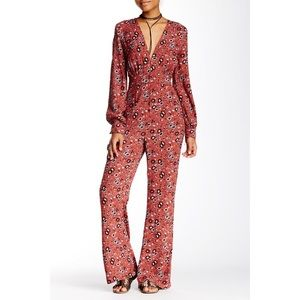 Free People Some Like It Hot Print Pant Jumpsuit